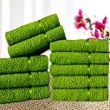 Story@Home Solid 10 Piece 450 GSM Cotton Face Towel Set - Green
