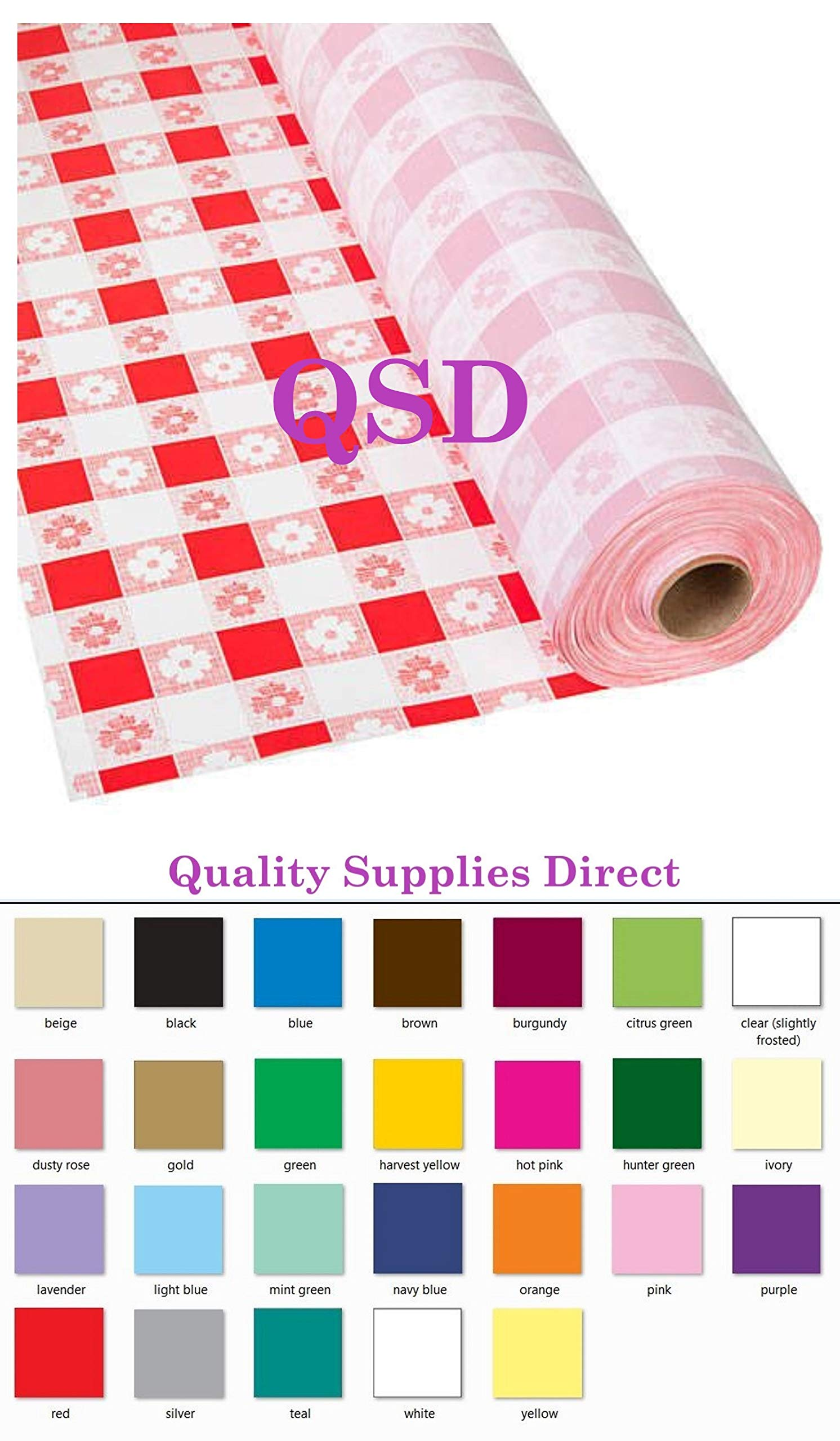 QSD Plastic Party Banquet Table Cover Roll - 300 ft. x 40 in. - 8ft Table Covers (Red Gingham) (26 Colors Available) by QSD