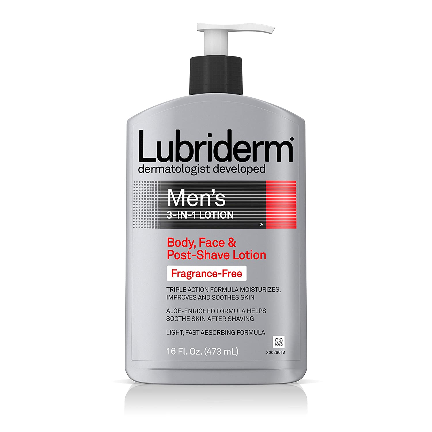 Lubriderm Men's 3-In-1 Unscented Lotion Enriched with Soothing Aloe for Body and Face, Non-Greasy Post Shave Moisturizer, Fragrance-Free, 16 fl. oz