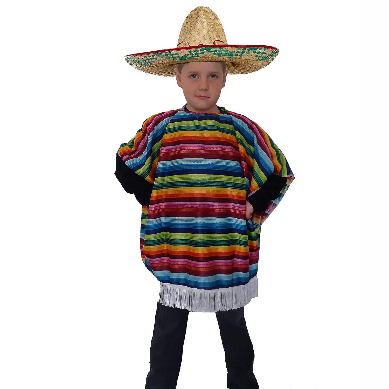 CHILDS MULTICOLOUR SOMBRERO HAT KIDS MEXICAN WILD WEST FANCY DRESS ACCESSORY