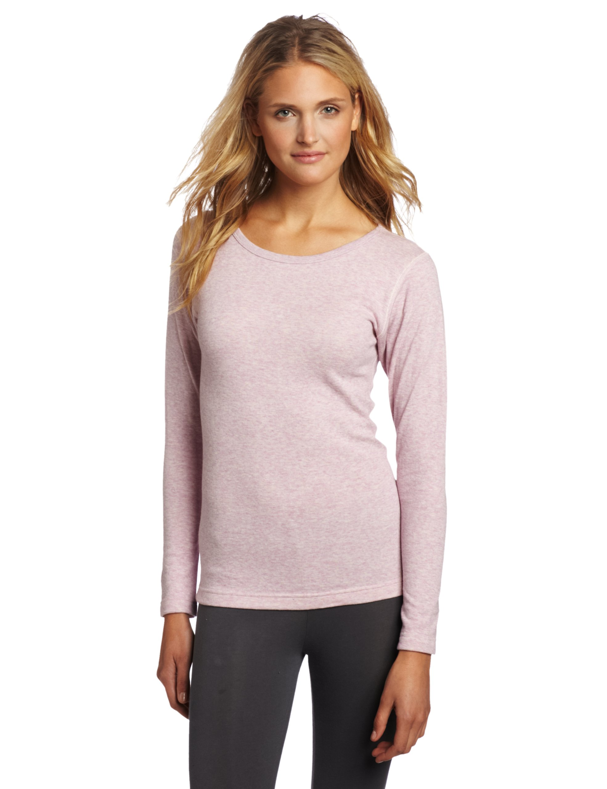 Duofold Women's Mid Weight Double Layer Thermal Shirt, Berry Pink Heather, Medium