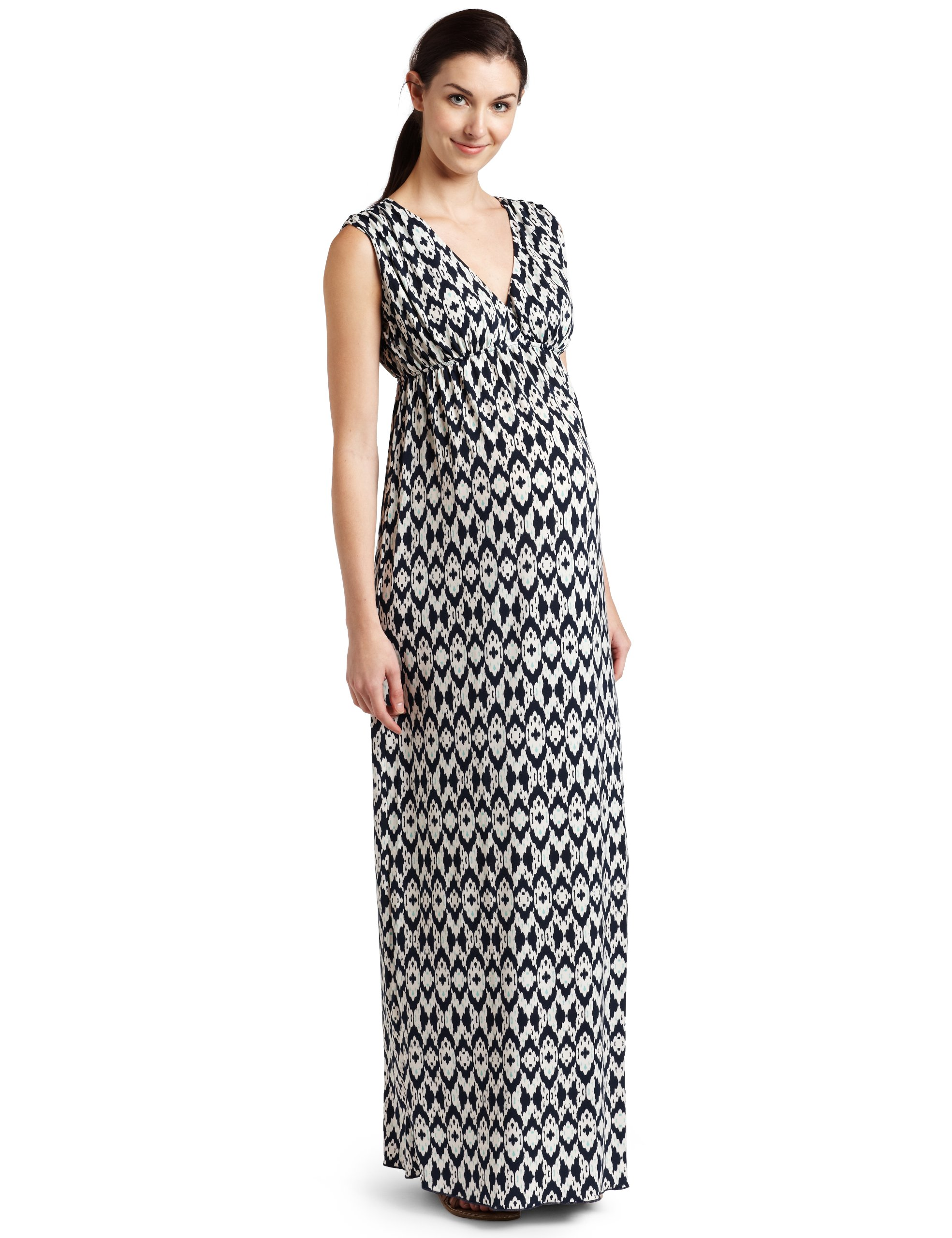 Everly Grey Women's Maternity Jill Maxi Dress In Batik Print, Seafoam/Navy, Large