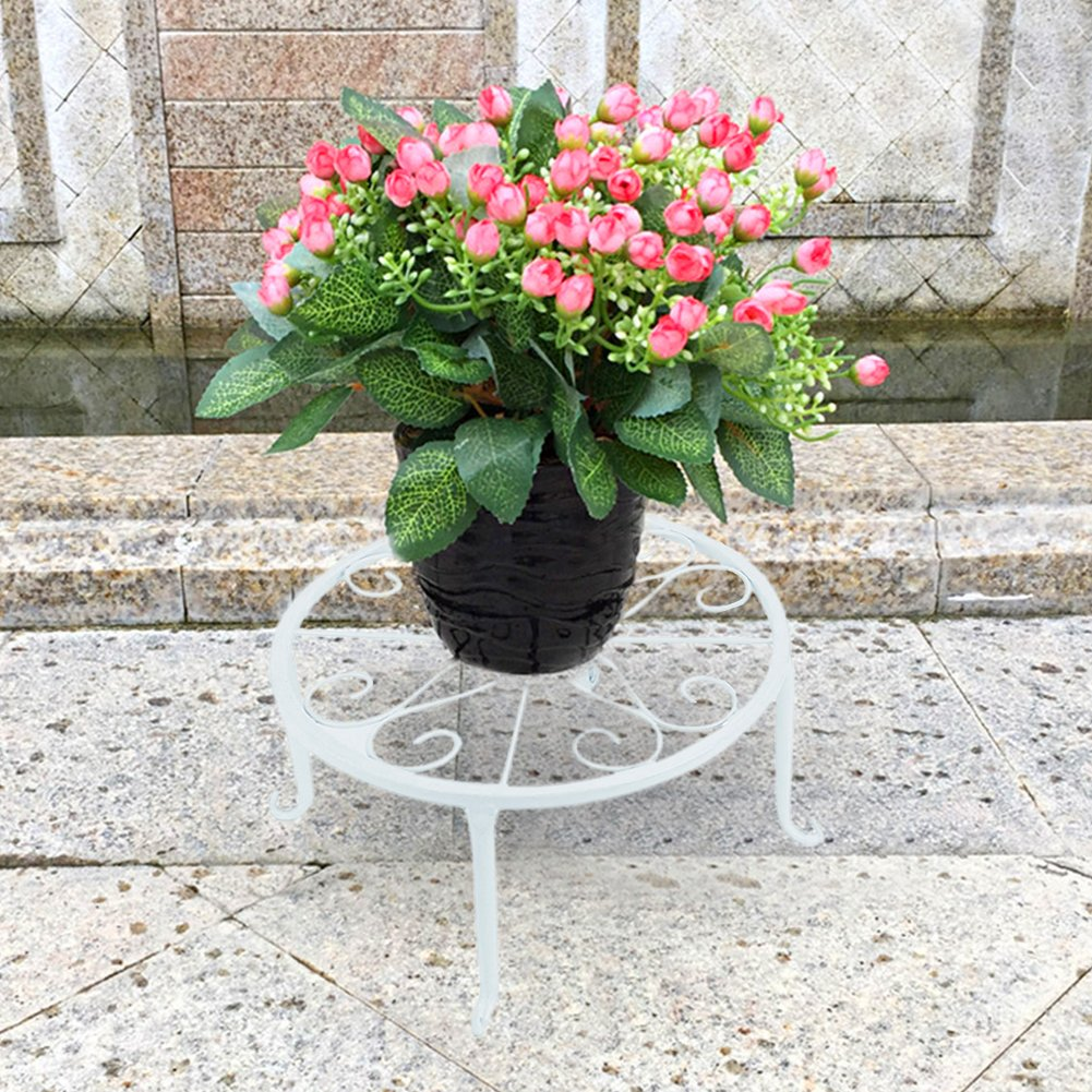 Pack of 3 Retro Plants Round Stand Metal Flower Pot Holder Pot Display Supporting for Indoor Outdoor Garden Patio