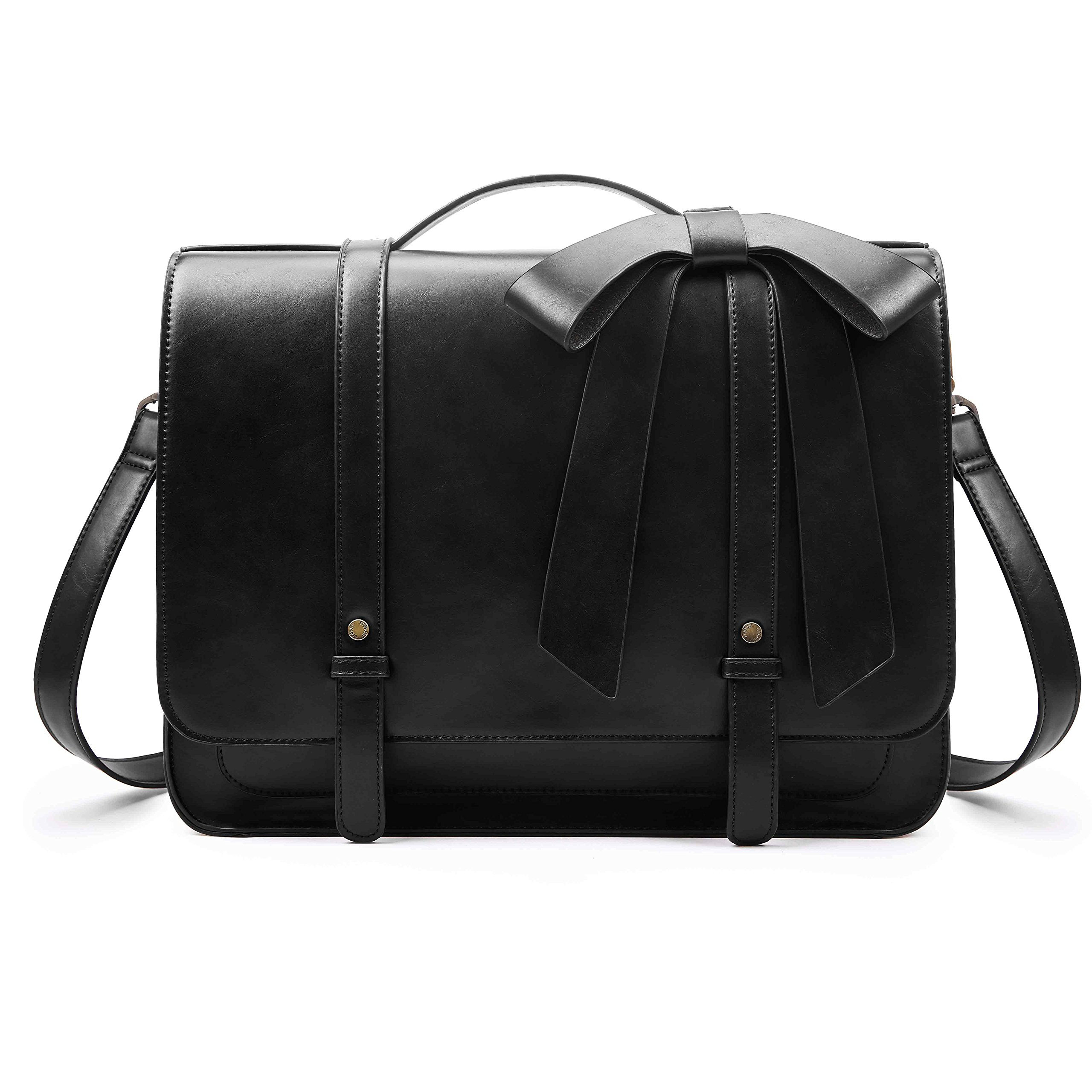 ECOSUSI Ladies Briefcase PU Leather Laptop Backpack Shoulder Satchel Computer Bag with Detachable Bow, Black