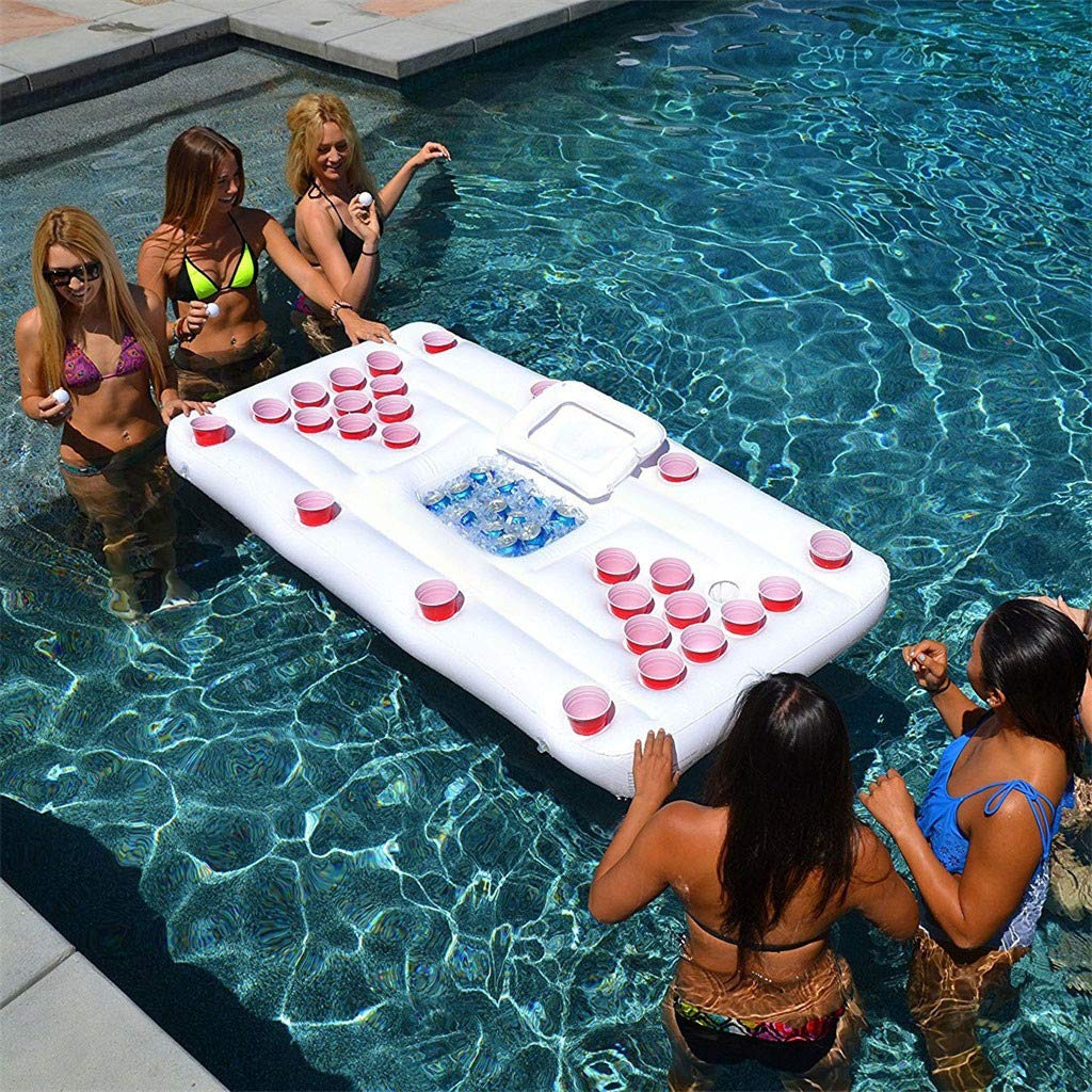 Moonite Inflatable Table Cup Pool Beer Pong Table Party Barge Floating Beer Pong Float with Cooler (White)