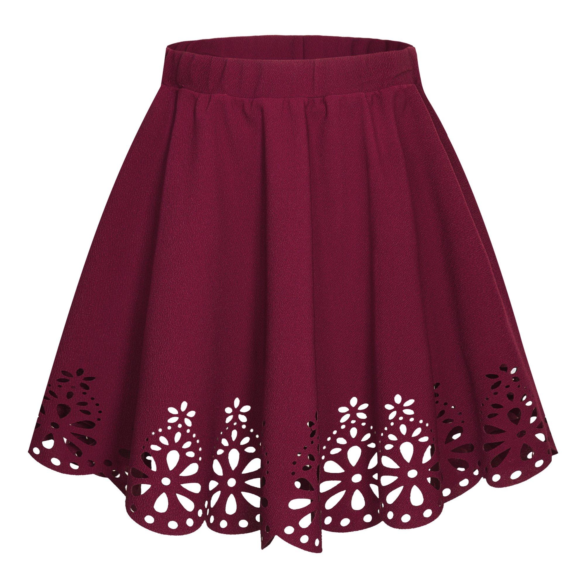 Urban CoCo Women's Basic Flared Scallope Hem Mini Skater Skirt (S, Wine Red)