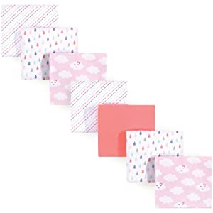 Luvable Friends Unisex Baby Cotton Flannel Receiving Blankets Bundle, Girl Clouds, One Size