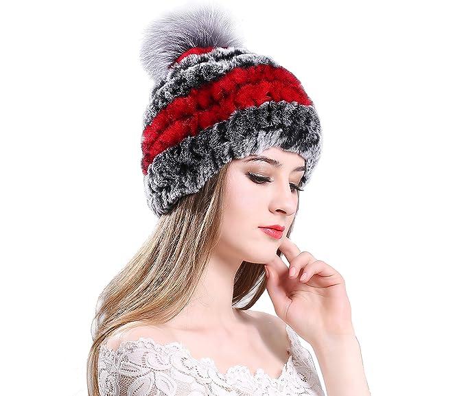 131559aa578627 Women's Winter Hat Rex Rabbit Fur Kintted Beanie with Silver Fox Fur Ball