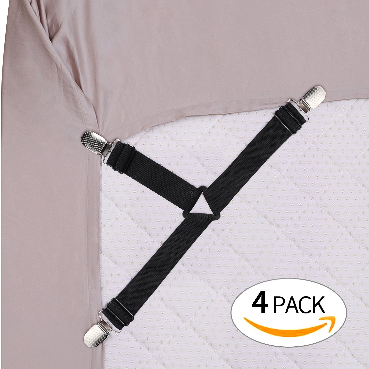 ONSON Bed Sheet Fasteners, Adjustable Triangle Elastic Suspenders Gripper Holder Straps Clip for Bed Sheets,Mattress Covers, Sofa Cushion(4Pack)