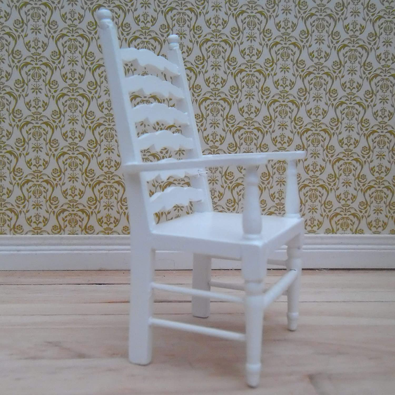 1//12th Scale Dolls House White Ladder-back Carver Chair Deep Plush Velvet Blue Seat Pad