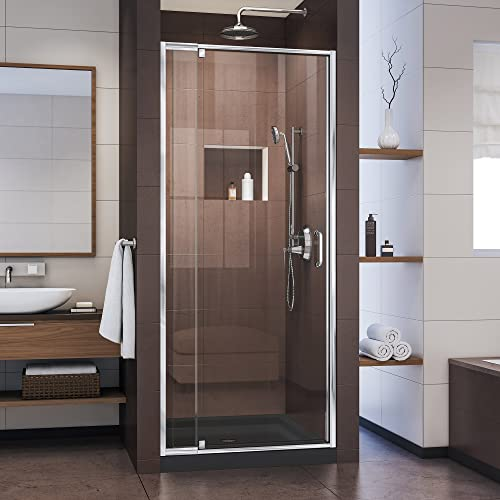 DreamLine Flex 32 in. D x 32 in. W x 74 3 4 in. H Semi-Frameless Pivot Shower Door in Chrome with Center Drain Black Base, DL-6215C-88-01