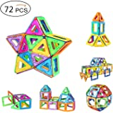 AMZtronics Magnetic Building Blocks 72 Pieces Magnetic Tiles Construction Blocks 3D Educational Toy Stacking Set Perfect Toy and Gift for Toddlers and Adults