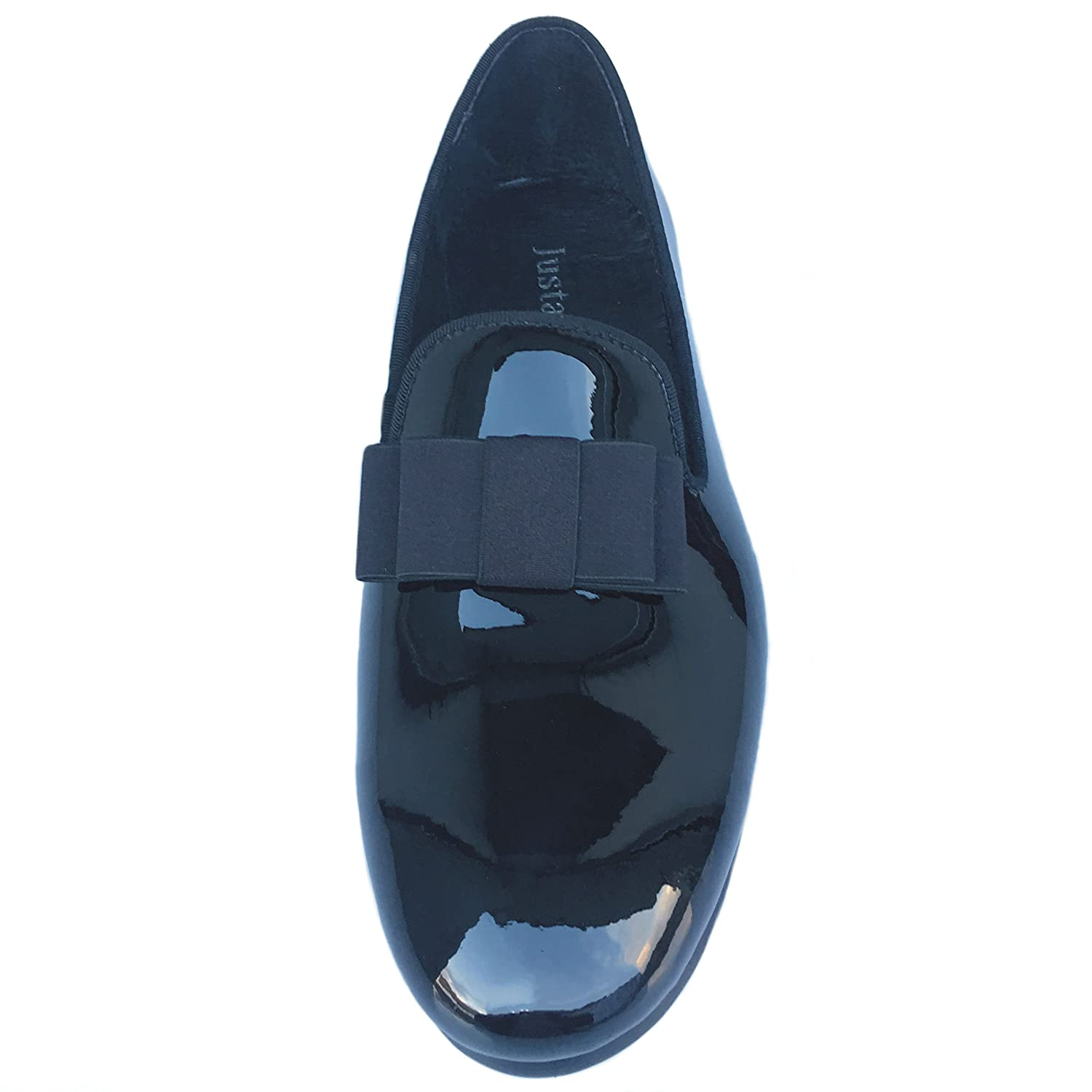c8657dea723a6 Justar Men's Black Patent Leather Loafers Prom Dress Shoes Tuxedo Bowtie  Slip on Smoking Slippers Flats