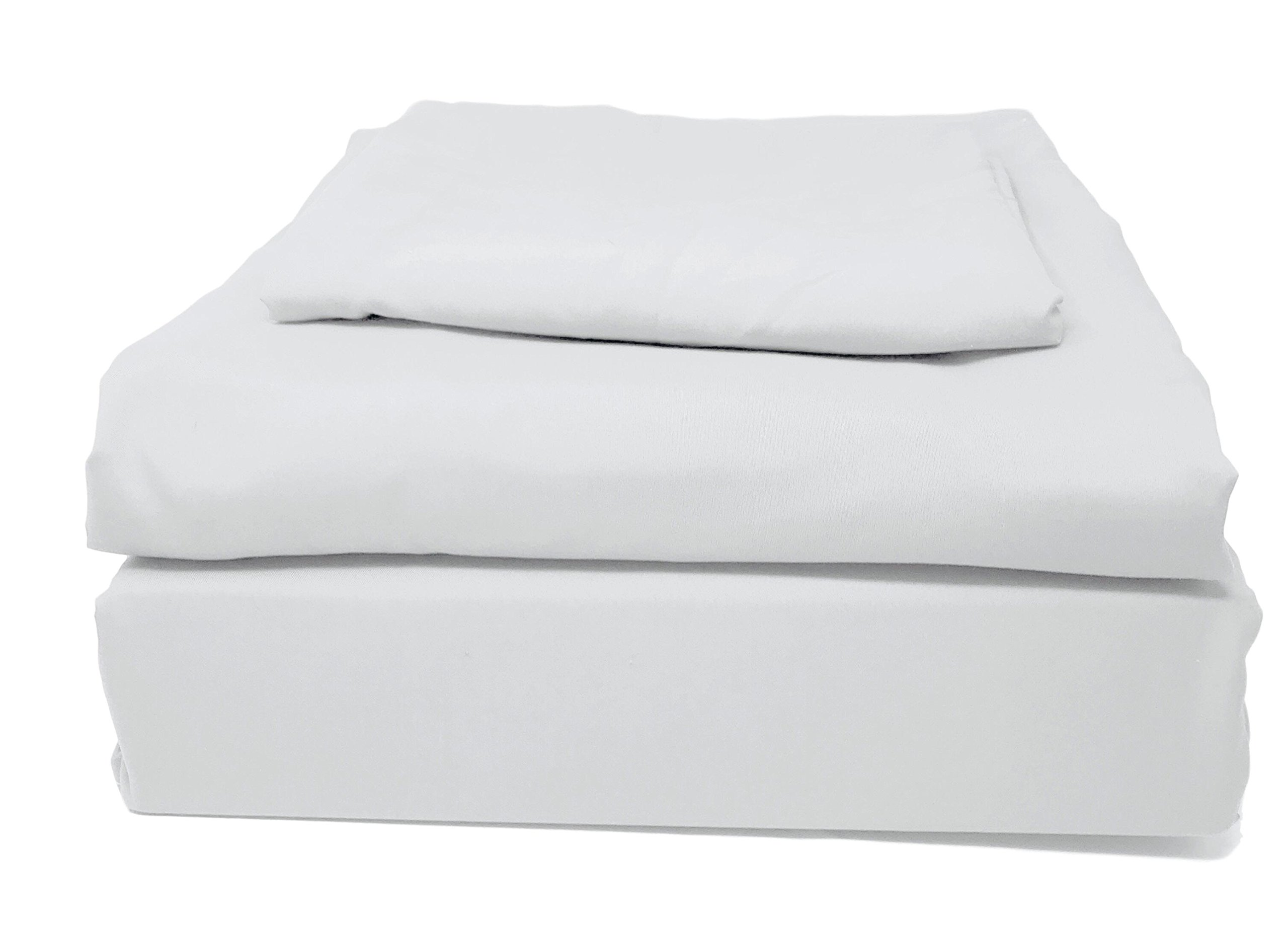 Tache Microfiber Deep Pocket Cloud White - Solid Color Fitted and Flat Luxury 3 Piece Sheet Set, Twin XL