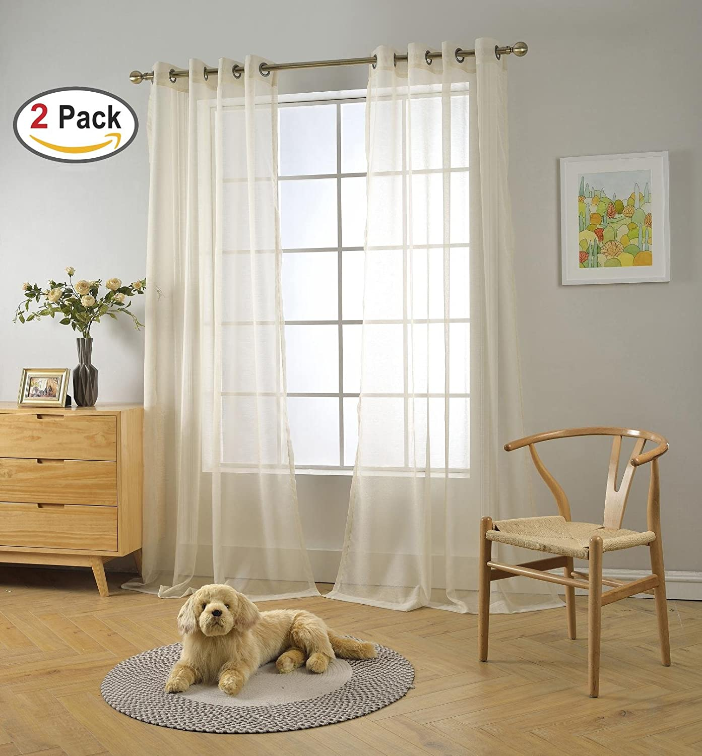 Miuco 2 Panels Grommet Textured Solid Sheer Curtains 95 Inches Long for Doors Beige