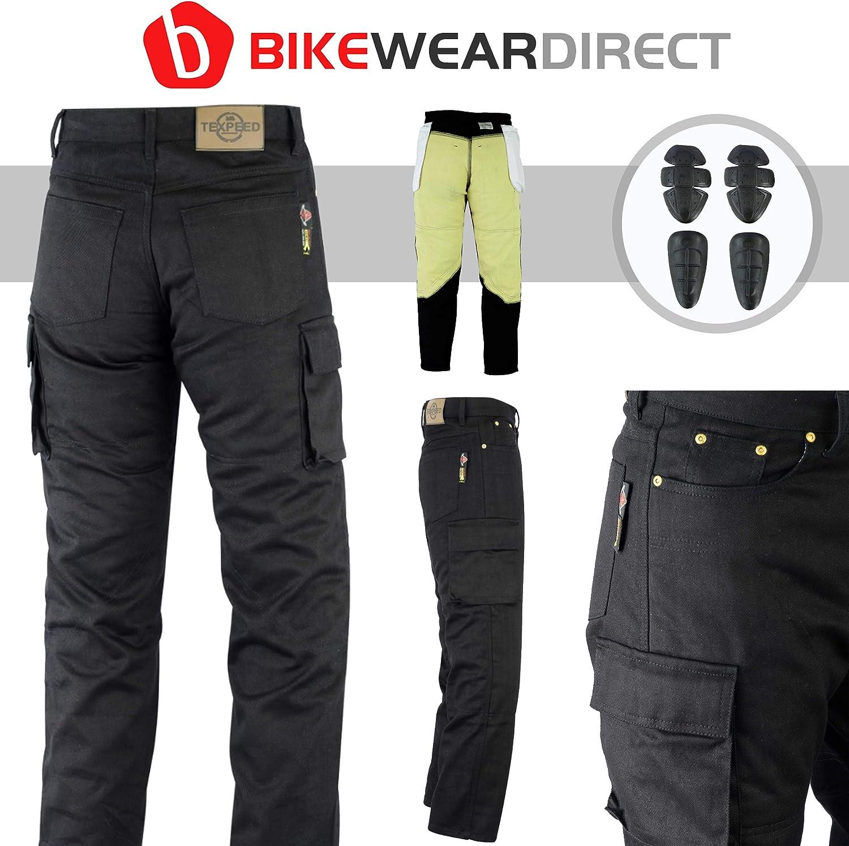 Schwarz Texpeed W32 L30 Herren Motorrad-Cargohose mit 6 Taschen /& CE-Protektoren Jeans /& Kevlar