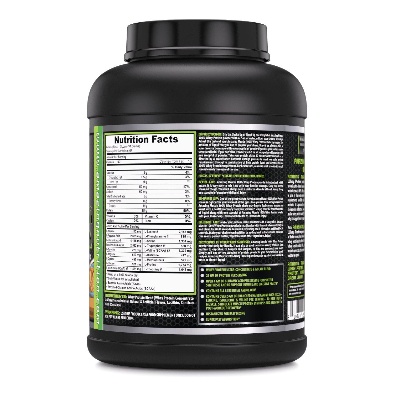 Amazing Muscle 100% Whey Protein Powder - 5 Lbs - Delicious Peanut Butter Flavor....: Amazon.es: Salud y cuidado personal