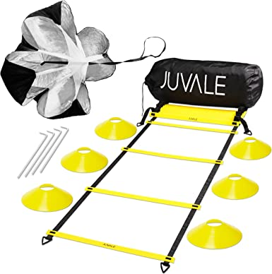 Resistance Parachute 4 Steel Stakes for Speed Explosiveness Juvale Speed and Agility Training Set Black Coordination Footwork Includes Agility Ladder with Carrying Bag 6 Disc Cones Yellow