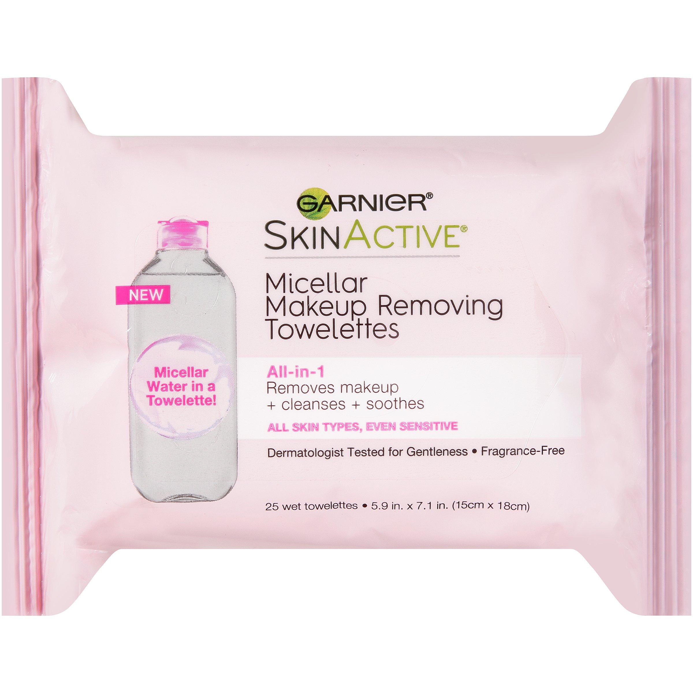 Garnier SkinActive Micellar Makeup Remover Wipes, 25 Count