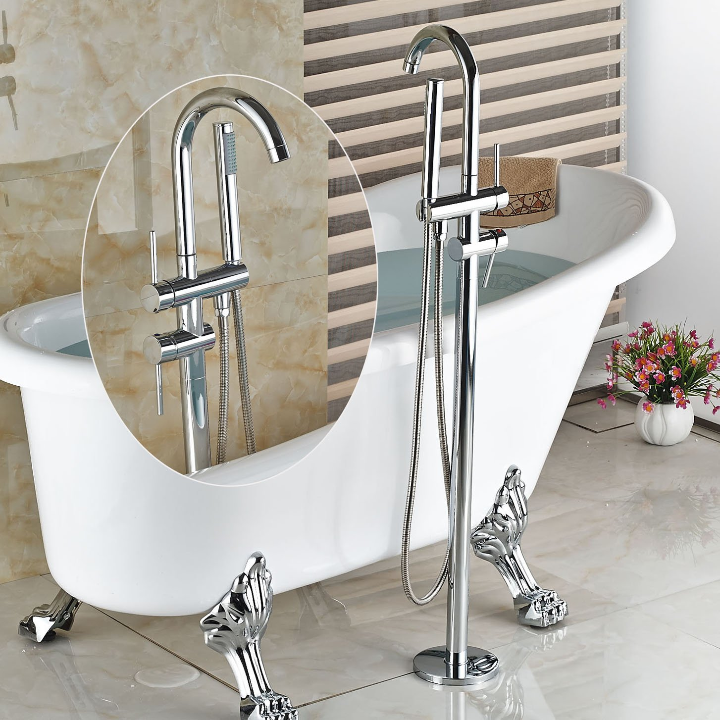Rozin Chrome Floor Mounted Bathtub Faucet Standing Mixer Tap with ...