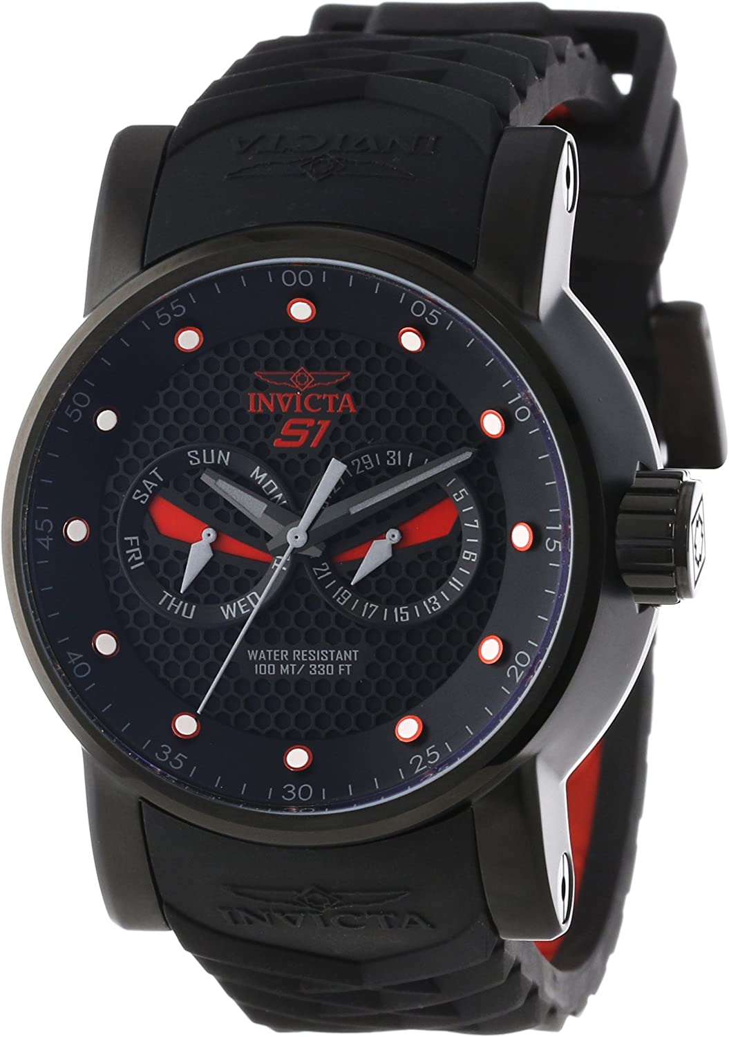 Invicta Men s 12787 S1 Rally Black Textured Dial Black and Red Silicone Watch