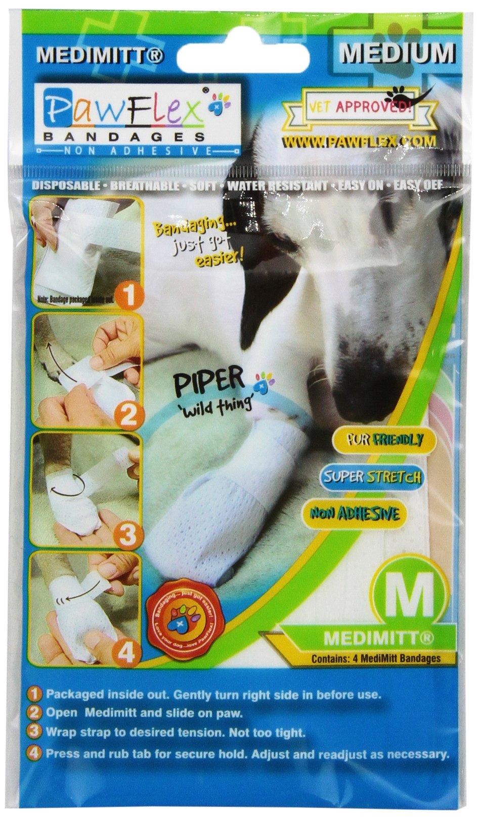 Pawflex Bandages Non-Adhesive Disposable Washable and Reusable Medimitt Banda...