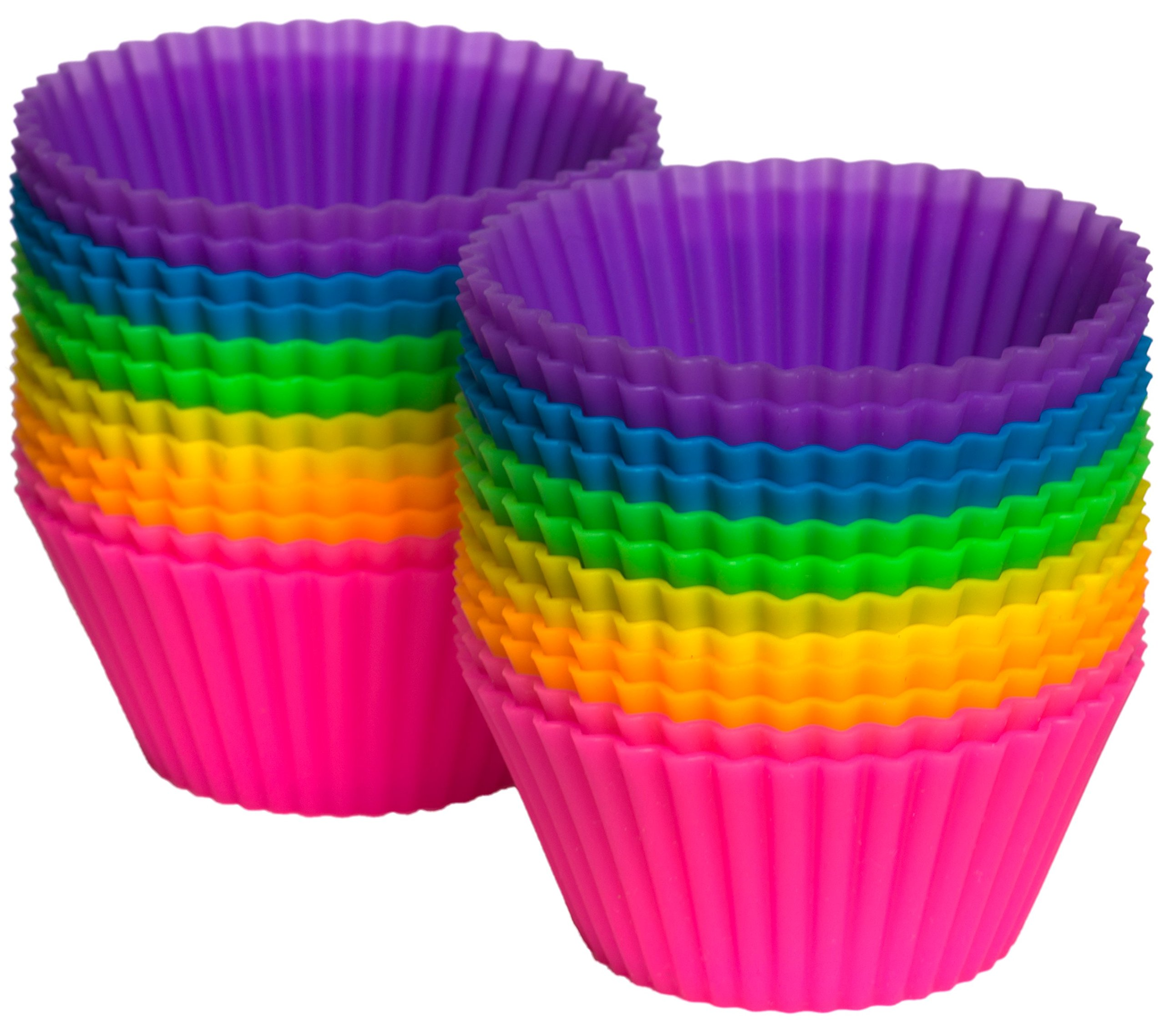 Pantry Elements Silicone Cupcake Liners/Baking Cups, 24-Pack Vibrant Muffin Molds in Storage Jar by Pantry Elements