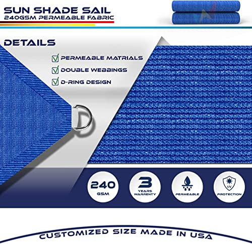 Windscreen4less Straight Edge Sun Shade Sail,Rectangle Heavy Duty 240GSM Outdoor Shade Cloth Pergola Cover UV Block Fabric