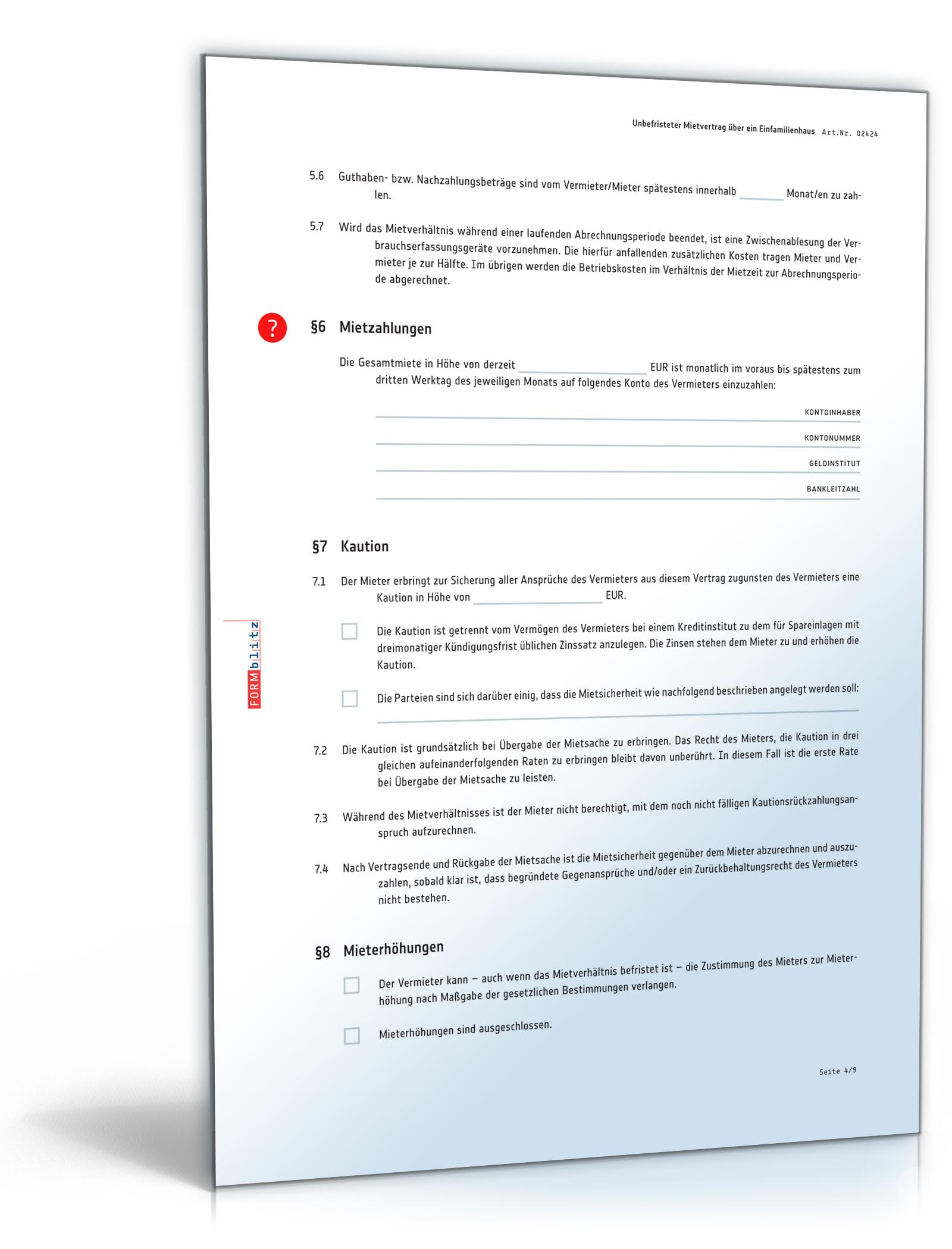 Mietvertrag Einfamilienhaus (DOC) - Standardmietvertrag für ein Haus ...