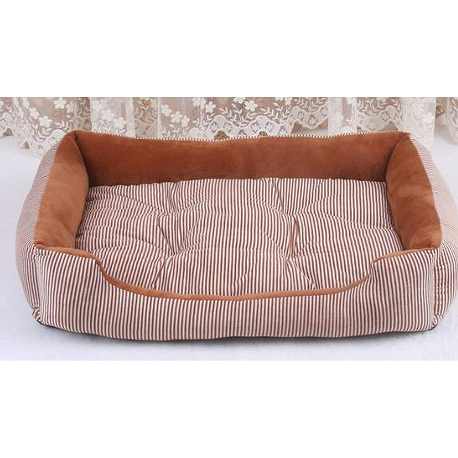 Light brown S 50x38x15cm light brown S 50x38x15cm Extra Large Pet Bed Sofas for Cat Dogs Husky Bulldog Removable Sleeping Cushion Mattress Take Out Small Large Dog House,Light Brown,S 50X38X15Cm