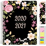 "HARDCOVER Academic Year 2020-2021 Planner: (June 2020 Through July 2021) 8.5""x11"" Daily Weekly Monthly Planner Yearly Agenda. Bonus Bookmark, Pocket Folder and Sticky Note Set (Black Floral)"