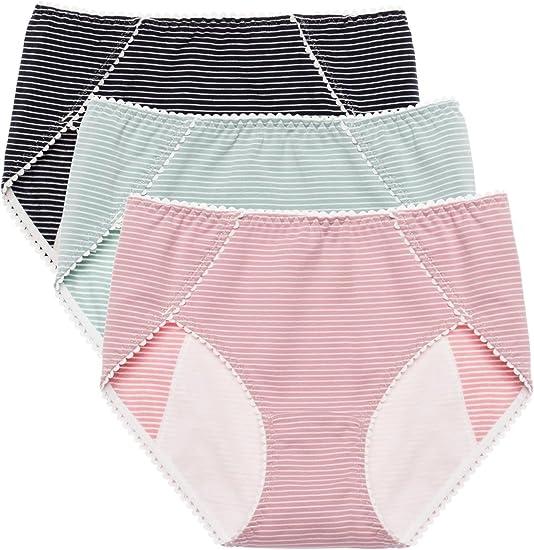 Navy Style Boyshorts Panties Female Safety Underwear Striped Mid-Rise Underpants
