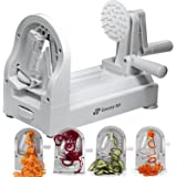 [New Edition] Spiralizer Vegetable Slicer and Zoodle Maker   Spiral Slicer with 4 Built-in Blades   Heavy Duty Veggie Spiral Noodle, Pasta, Zucchini Spaghetti Maker Low Carb, Paleo, Gluten-Free Meal