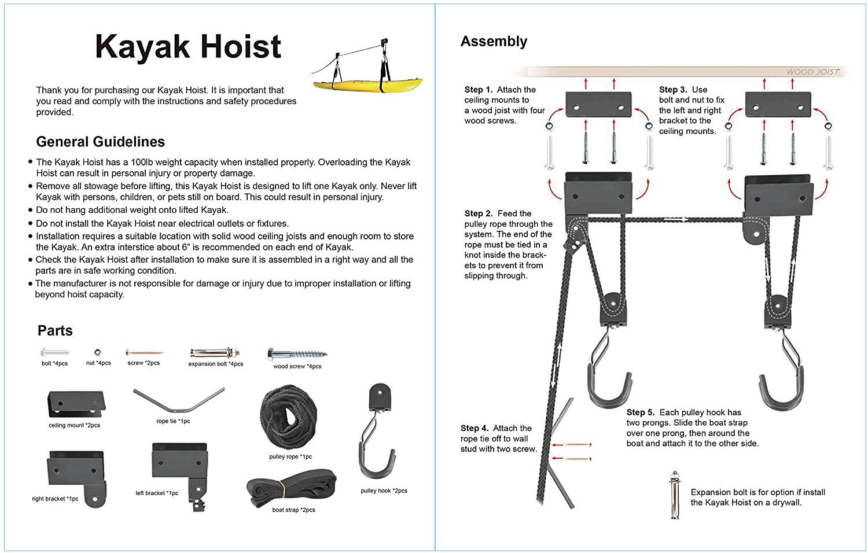 Cartman Kayak Hoist Lift Garage Storage Canoe Hoists 100 Pound Pelican Pedal Boat Wiring Diagram Working Capacity