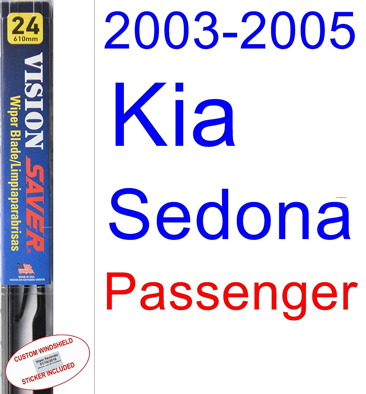 Amazon.com: 2003-2005 Kia Sedona Wiper Blade (Driver) (Saver Automotive Products-Vision Saver) (2004): Automotive