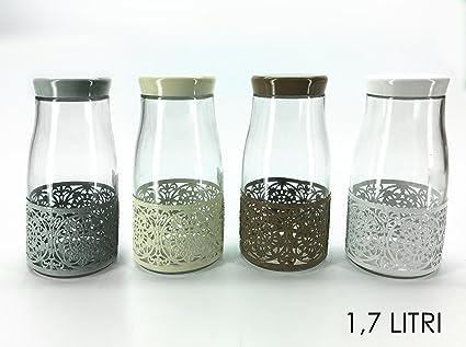 Barattolo in vetro cilindro 1,7 l decorazione shabby chic coperchio ...