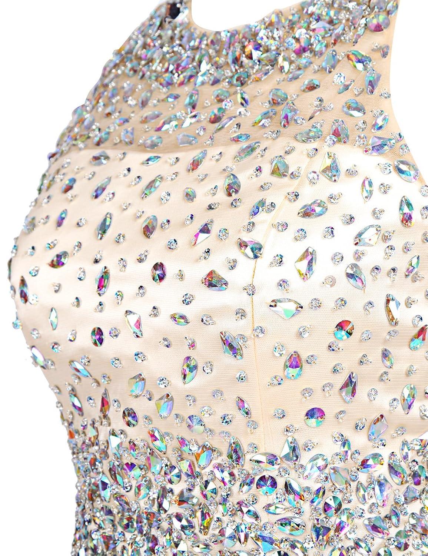 Dressystar Short Halter Bridesmaid Dresses Beadings Size 24W Champagne