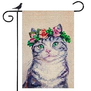 Shmbada Spring Flower Cat Burlap Garden Flag, Premium Material Double Sided Outdoor Kitten Decorative Flags for Garden Yard Lawn, 12.5 x 18.5 Inch