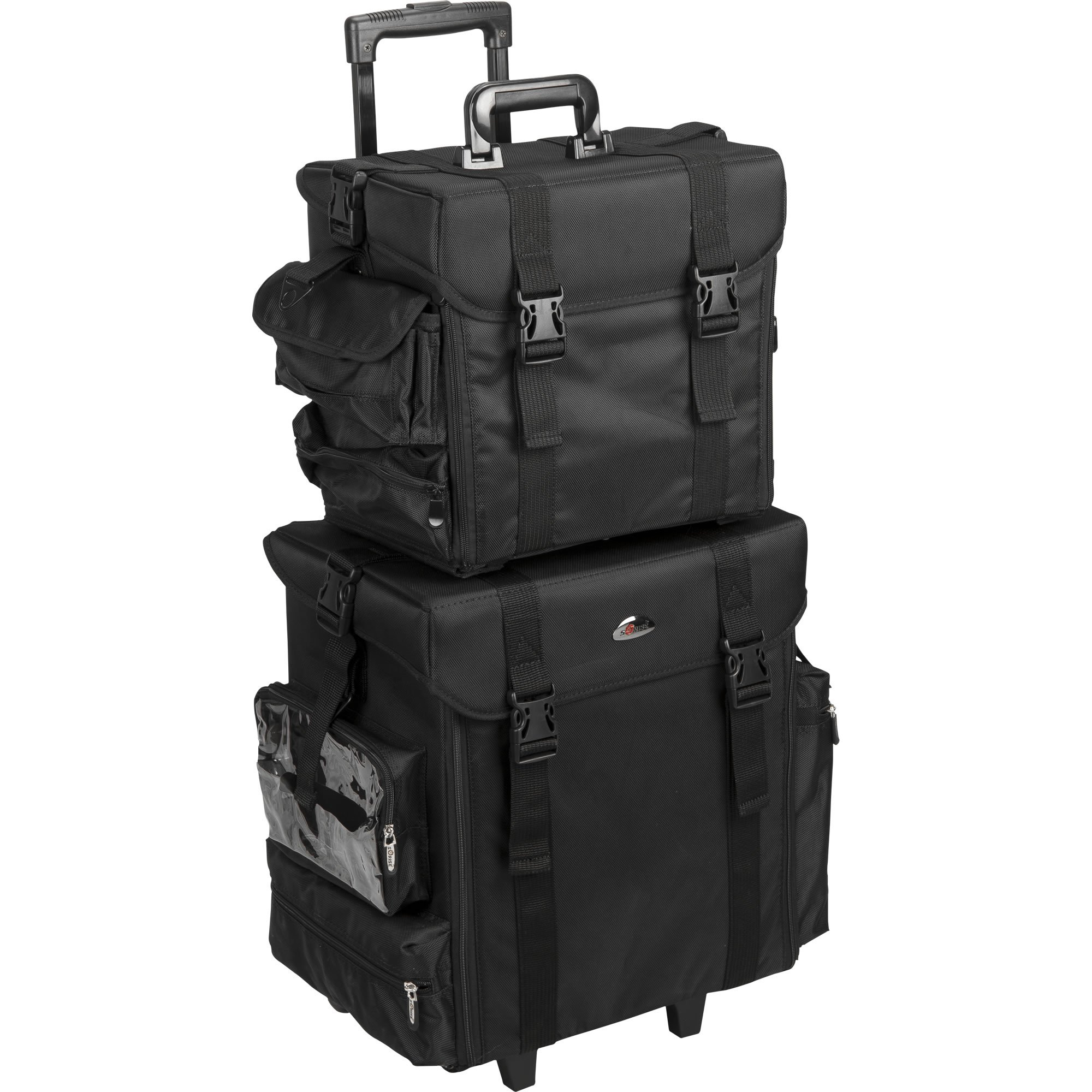 JustCase T5171 2-in-1 Soft Sided Professional Rolling Trolley Makeup Artist Cosmetic Case, Black Nylon by JustCase