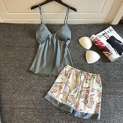 ZJHZN Pijamas de Verano para Mujer Sexy con Almohadillas para ...