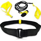 Swimming Belt - for Stationary Resistance Training & Endless Laps (with Drag Parachute and Elastic Tether) - for Adults, Kids, Professionals, Amateurs (Indoor & Outdoor Pools)
