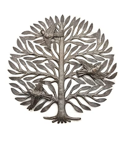 Family Tree, Haitian Drum Art, Metal Tree Wall Decor, Tree Of Life,