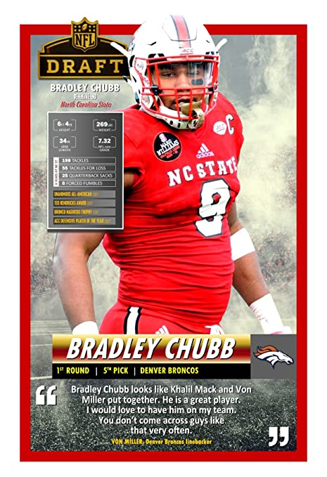 2da3c476626 Image Unavailable. Image not available for. Color  PosterWarehouse2017 BRONCOS  SELECT BRADLEY CHUBB IN THE 2018 NFL DRAFT POSTER