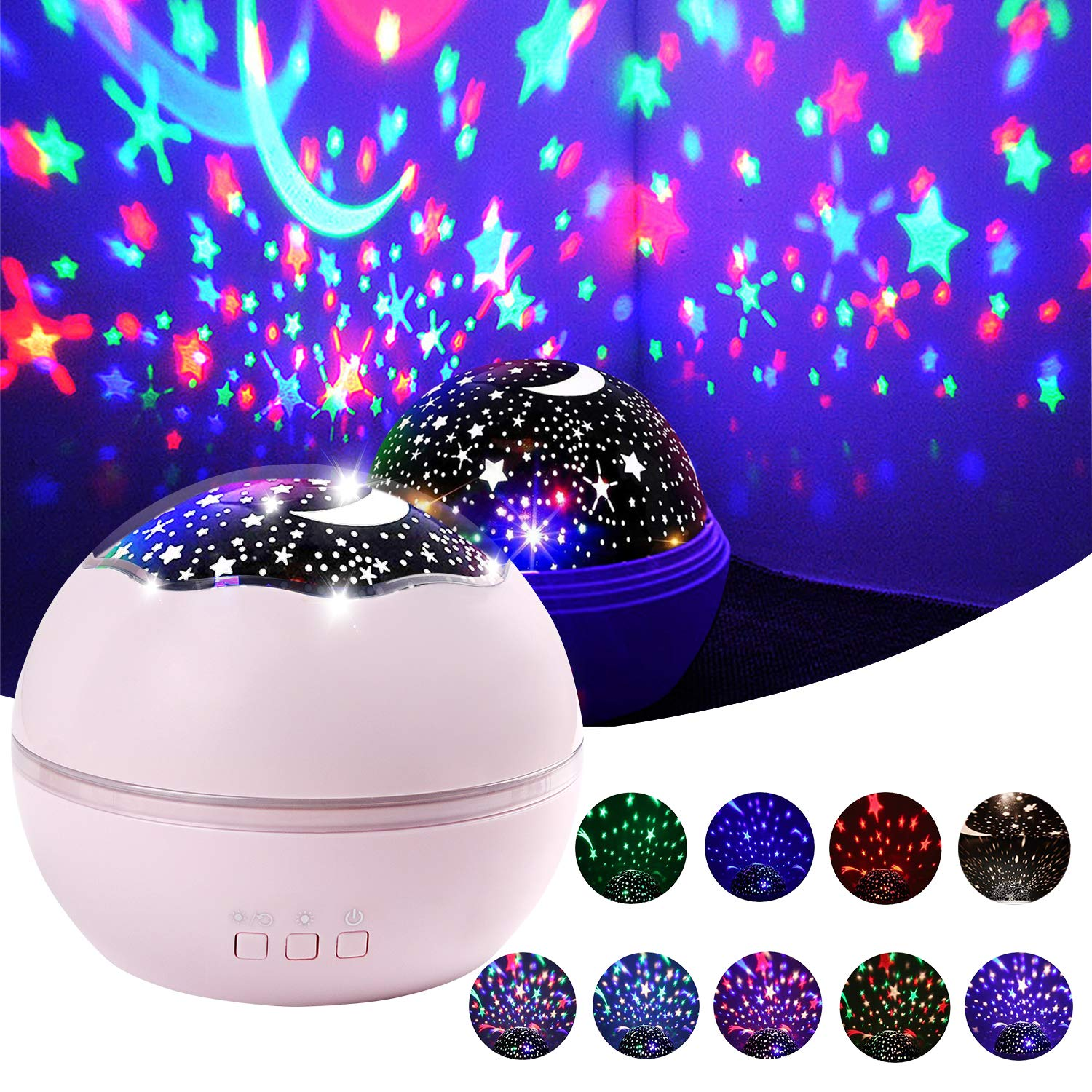 Star Projector Light, Night Lamp Romantic Rotating Sea Animals Star Moon Cover Projector Night Lighting for Children Adults Bedroom, Birthday,Baby Nursery Light (Black) Samyoung
