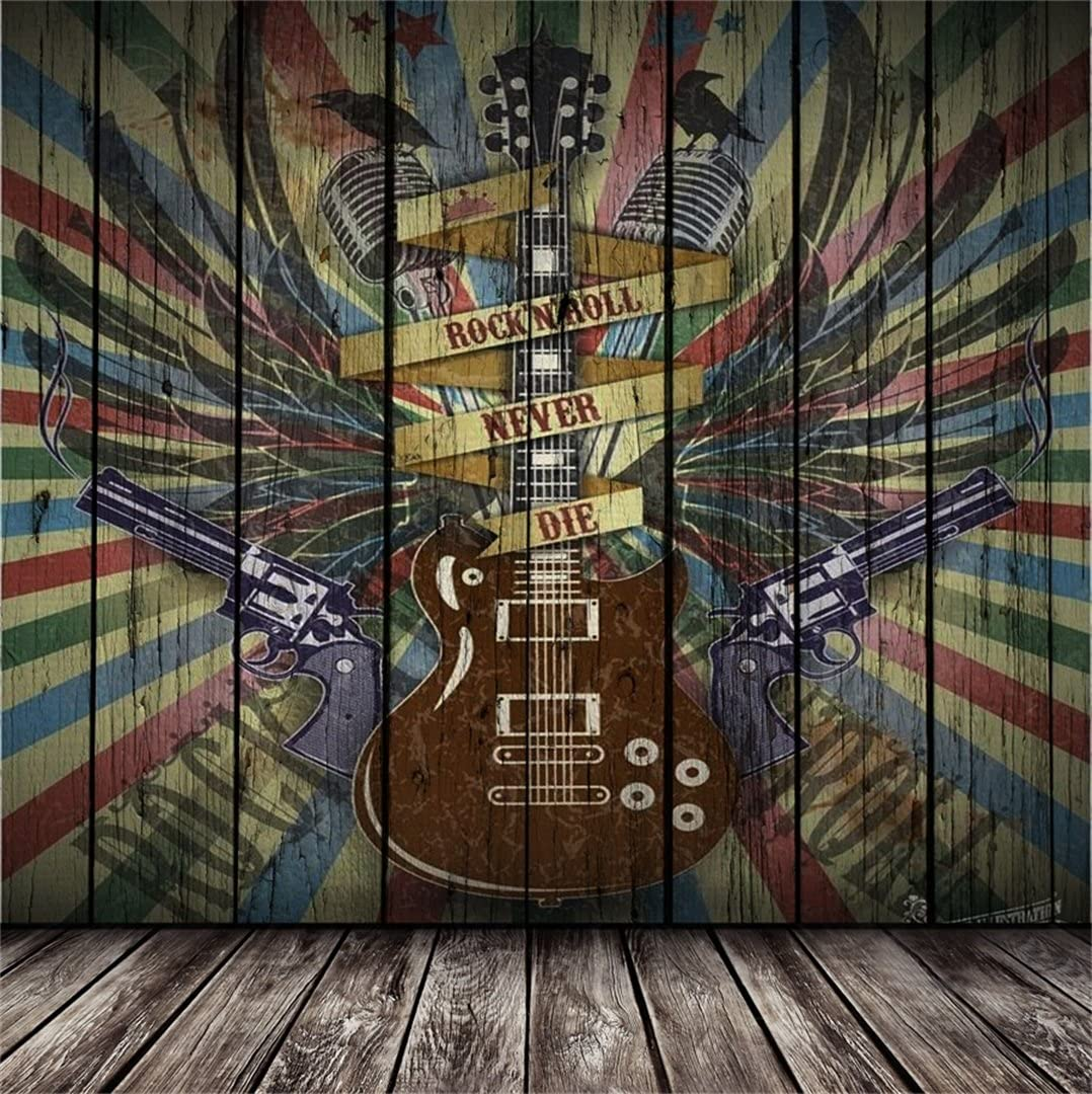 Modern 8x10 FT Photo Backdrops,Music Theme Rock Talent Wings Guitar Instrument Art Print Background for Party Home Decor Outdoorsy Theme Vinyl Shoot Props Black Charcoal Grey Umber and Mustard