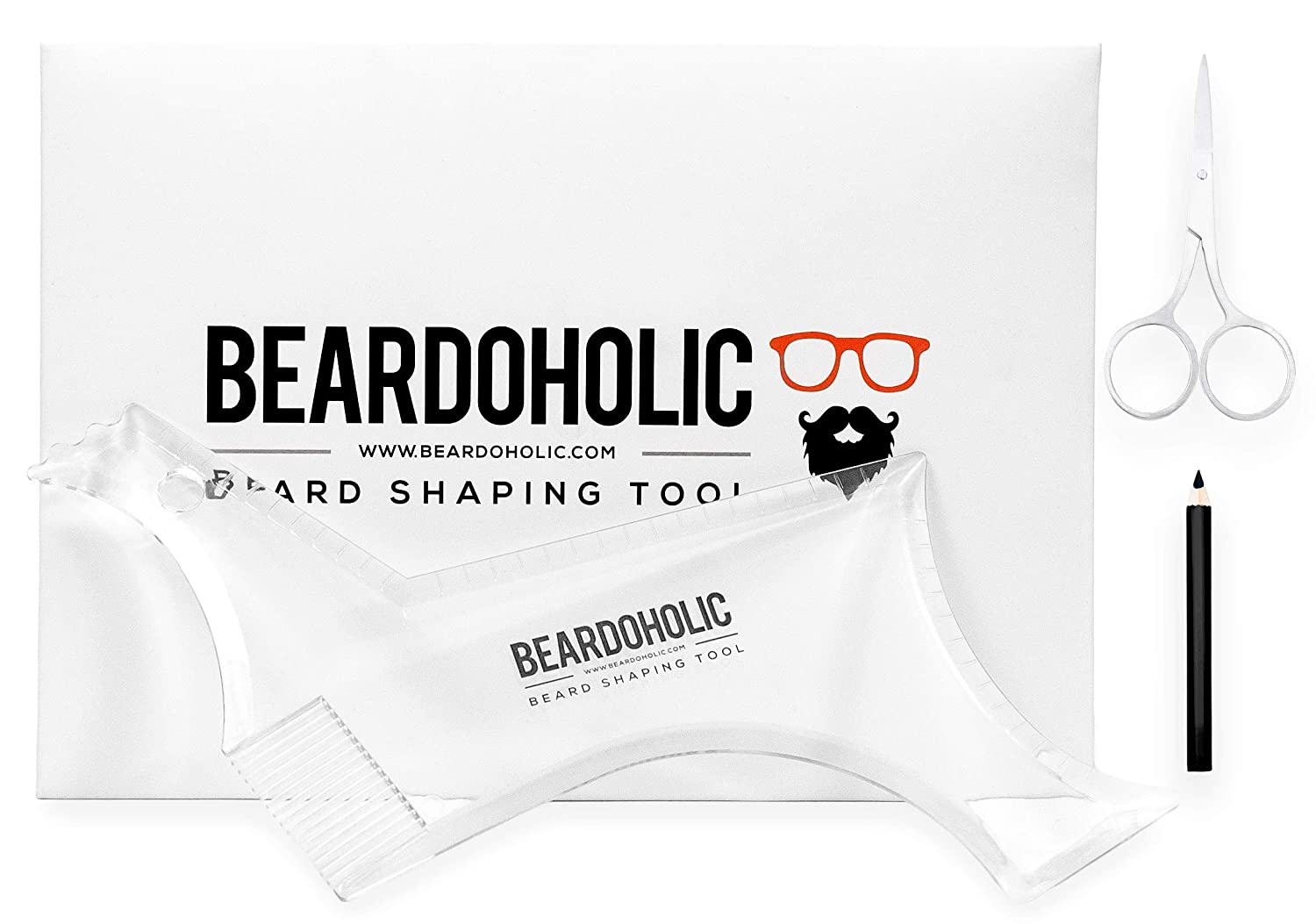 BEARDOHOLIC Beard Shaper, 9 in 1 Beard Shaping Tool with Lineup Pencil and Scissors, Transparent for Perfectly Precise Lines