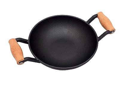 Alpha Global Non Stick Cast Iron Stir Fry Wok Black 8 Inch