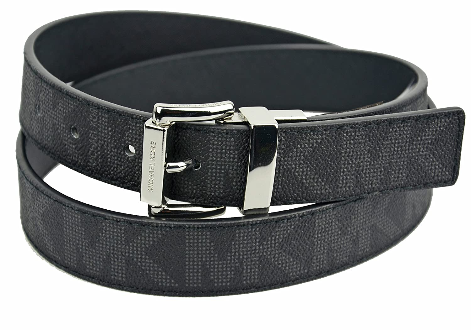e1aa11bc3 Amazon.com: Michael Kors Womens Reversible MK Logo Silver Buckle Black Belt  Large: Clothing