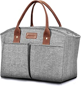 Lunch Bags for Women Insulated Thermal Lunch Tote Bag Durable Large Lunch Box Container Drinks Holder for Adults Men Work College Picnic Beach Park, Grey