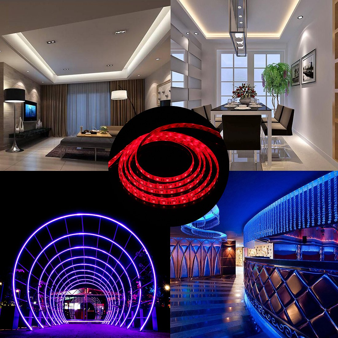 RC LED Strip lights 32.8ft Waterproof Flexible SMD5050 300LEDs with 44Key Remote 12V Power Adapter for Party Holiday Home and Outdoor by RC (Image #6)
